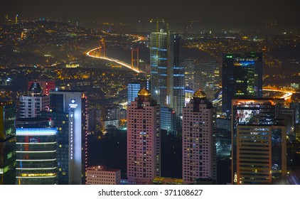 ISTANBUL, TURKEY - DECEMBER 05, 2015: Aerial view of the city downtown and skyscrapers from Sapphire tower, Istanbul, Turkey.