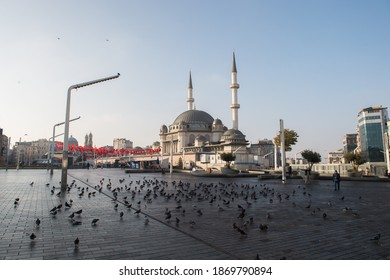 ISTANBUL, TURKEY - DECEMBER 05, 2020: Taksim Square during a nation-wide weekend curfew which was imposed to prevent the spread of the coronavirus disease (COVID-19), in Istanbul, Turkey