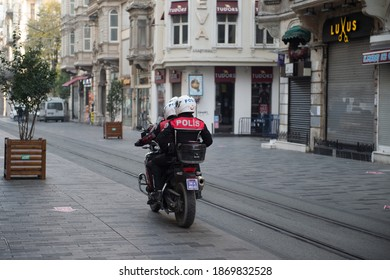 ISTANBUL, TURKEY - DECEMBER 05, 2020: On the day of the curfew, motorcycle police officers inspect İstiklal Street.