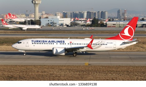 ISTANBUL, TURKEY - DECEMBER 08, 2018: Turkish Airlines Boeing 737-8MAX (CN 60035) takes off from Istanbul Ataturk Airport. THY grounds Boeing 737 MAX planes after Ethiopia crash