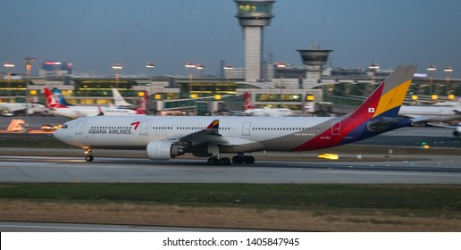 ISTANBUL, TURKEY - DECEMBER 08, 2018: Asiana Airlines Airbus A330-323E (CN 1151) takes off from Istanbul Ataturk Airport. Asiana Airlines has 84 fleet size and 75 destinations