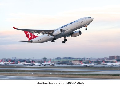 ISTANBUL, TURKEY - DECEMBER 08, 2018: Turkish Airlines Airbus A330-243F (CN 1442) takes off from Istanbul Ataturk Airport. THY is the flag carrier of Turkey with 330 fleet size and 304 destinations