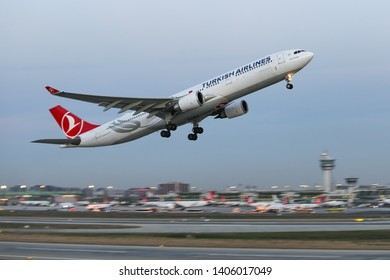 ISTANBUL, TURKEY - DECEMBER 08, 2018: Turkish Airlines Airbus A330-303 (CN 1629) takes off from Istanbul Ataturk Airport. THY is the flag carrier of Turkey with 330 fleet size and 304 destinations