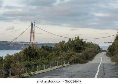 ISTANBUL, TURKEY - DECEMBER 12, 2015: Yavuz Sultan Selim Bridge Construction. Istanbul, Turkey.