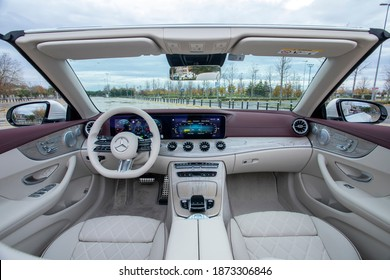 Istanbul, Turkey - December 12 2020 : Mercedes-Benz's new E-Class model E 300 Cabriolet is on the road.