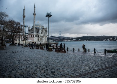 Istanbul, Turkey - December 13, 2016: Panoramic view of Ortakoy Square by the Bosphorus, Istanbul on December 13, 2016.