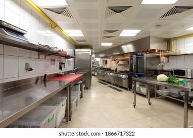 Istanbul Turkey - December 13 2017 : Hotel kitchen interior. Nobody inside at day.