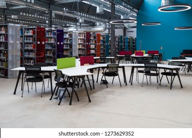 Istanbul / Turkey - December 14, 2018 ; library concept for university or school. books ,table ,chair in the library.Istanbul Sehir University.