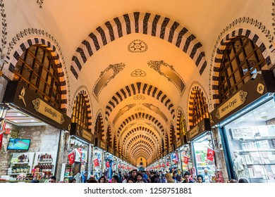 ISTANBUL, TURKEY - DECEMBER 15, 2018: Egyptian Bazaar or Spice Bazaar (Turkish: MISIR CARSISI) in Eminonu, Istanbul, Turkey. One of the oldest covered bazaars in İstanbul.