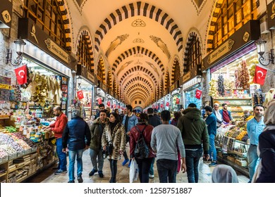 ISTANBUL, TURKEY - DECEMBER 15, 2018: Egyptian Bazaar or Spice Bazaar (Turkish: MISIR CARSISI) in Eminonu, Istanbul, Turkey. One of the oldest covered bazaars in Ä°stanbul.