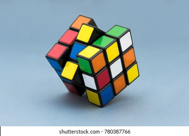 ISTANBUL- TURKEY - DECEMBER 18, 2017: Variation of the Rubik's cube on a white background. Rubik's Cube invented by a Hungarian architect Erno Rubik in 1974.
