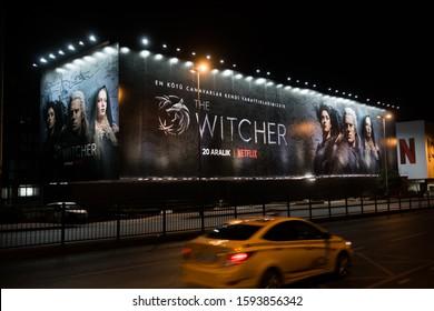 ISTANBUL, TURKEY- DECEMBER 18: The Witcher is an American fantasy drama series on Netflix. Advertising poster in Besiktas of Istanbul. December 18, 2019 in Istanbul, Turkey.