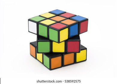 ISTANBUL -  TURKEY - DECEMBER 19, 2016: Rubik's cube on the white background. Rubik's Cube on a white background. Rubik's Cube invented by a Hungarian architect Erno Rubik in 1974.