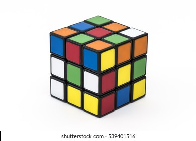 ISTANBUL- TURKEY - DECEMBER 19, 2016: Rubik's cube on the white background. Rubik's Cube on a white background. Rubik's Cube invented by a Hungarian architect Erno Rubik in 1974.