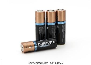 ISTANBUL, TURKEY - DECEMBER 19, 2016: Duracell Turbo Max alkaline AA batteries.