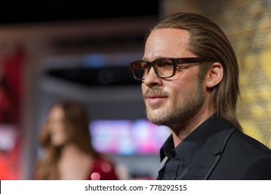 ISTANBUL, TURKEY, DECEMBER 19, 2017: Wax sculpture of Brad Pitt at Madame Tussauds Istanbul. Brad Pitt is an American actor and producer.