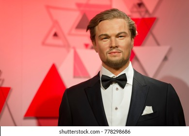 ISTANBUL, TURKEY, DECEMBER 19, 2017: Wax sculpture of Leonardo DiCaprio at Madame Tussauds Istanbul. Leonardo DiCaprio is an American actor, film producer, and environmental activist.