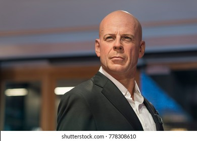 ISTANBUL, TURKEY, DECEMBER 19, 2017: Wax sculpture of Bruce Willis at Madame Tussauds Istanbul. Bruce Willis is an American actor, producer, and singer.