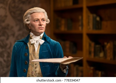 ISTANBUL, TURKEY, DECEMBER 19, 2017: Wax sculpture of Wolfgang Amadeus Mozart at Madame Tussauds Istanbul. Mozart was a prolific and influential composer of the Classical era.
