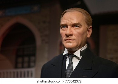 ISTANBUL, TURKEY, DECEMBER 19, 2017: Wax sculpture of Mustafa Kemal Ataturk at Madame Tussauds Istanbul. Kemal Ataturk was a Turkish army officer, revolutionary, and founder of the Republic of Turkey.
