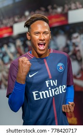 ISTANBUL, TURKEY, DECEMBER 19, 2017: Wax sculpture of Neymar Jr at Madame Tussauds Istanbul. Neymar Jr is a Brazilian professional footballer who plays as a forward for French club Paris Saint-Germain
