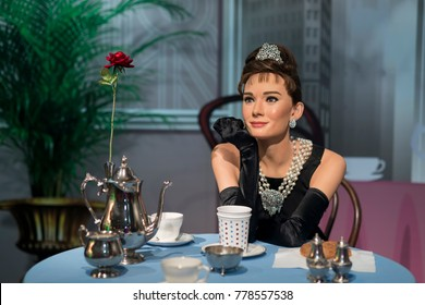 ISTANBUL, TURKEY, DECEMBER 19, 2017: Wax sculpture of Audrey Hepburn, famous British actress, model, dancer and humanitarian at Madame Tussauds Istanbul.