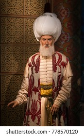 ISTANBUL, TURKEY, DECEMBER 19, 2017: Wax sculpture of Suleiman the Magnificent, the tenth and longest-reigning sultan of the Ottoman Empire on display at Madame Tussauds Istanbul.