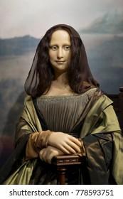 ISTANBUL, TURKEY, DECEMBER 19, 2017: Wax figure of Mona Lisa (La Gioconda) on display at Madame Tussauds Istanbul.