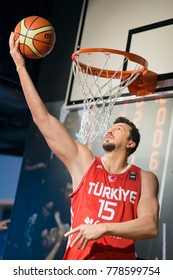 ISTANBUL, TURKEY, DECEMBER 19, 2017: Wax sculpture of Hidayet Turkoglu, a Turkish former professional basketball player who played 15 seasons in NBA, on display at Madame Tussauds Istanbul.