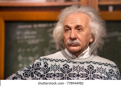 ISTANBUL, TURKEY, DECEMBER 19, 2017: Wax sculpture of Albert Einstein at Madame Tussauds Istanbul. Einstein was a German-born theoretical physicist who developed the theory of relativity.