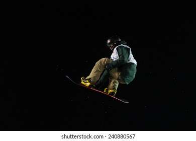 ISTANBUL, TURKEY - DECEMBER 20, 2014: Janne Korpi jump in FIS Snowboard World Cup Big Air. This is first Big Air event for both, men and women.