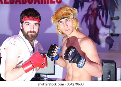 Istanbul, Turkey; December 20, 2015: Ken and Ryu from Street Fighters Cosplay at Gamex video games event.