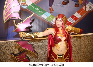 ISTANBUL, TURKEY - DECEMBER 20, 2015: Cosplayer girl in Knight Online Archer costume during Gamex game fair in Lutfi Kirdar International Convention and Exhibition Center