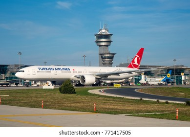 ISTANBUL / TURKEY - DECEMBER 2017 Turkish Airlines Boeing 777-3F2(ER), TC-LJD, cn 44125 / 1361, leaving the IST terminal with the ATC Controltower in the background for another long range flight.