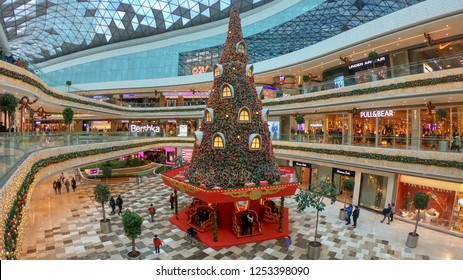 istanbul, Turkey - December 2018: New year decoration with a huge christmas tree in Vadistanbul shopping mall