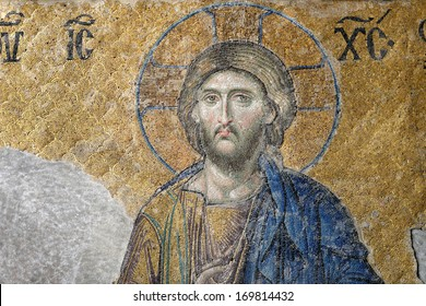 ISTANBUL, TURKEY - DECEMBER 21: Jesus Christ, a Byzantine mosaic in the interior of Hagia Sophia, on December 21, 2013 in Istanbul.