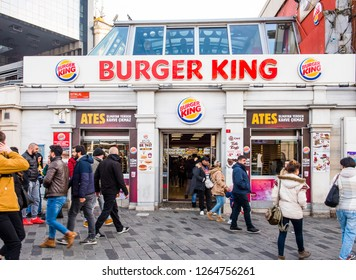 ISTANBUL, TURKEY - DECEMBER 22, 2018: BURGER KING fast food restaurant at Taksim Square. Istanbul, Turkey.