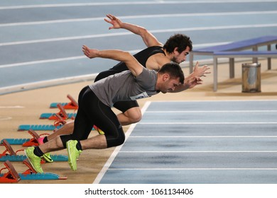 ISTANBUL, TURKEY - DECEMBER 23, 2017: Athletes running 60 meters during Turkish Athletic Federation Indoor Athletics Record Attempt Races