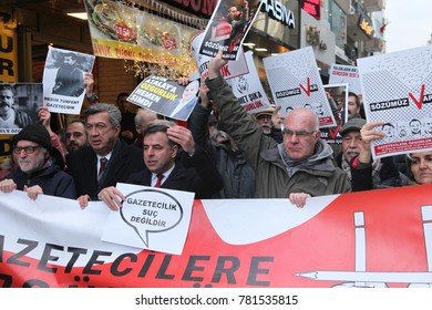 ISTANBUL, TURKEY - DECEMBER 23: Turkey Journalists' Union rallied to protest the arrest of journalists on December 23, 2017 in Istanbul,Turkey.