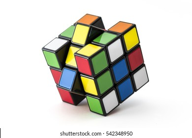 ISTANBUL- TURKEY - DECEMBER 24, 2016: Rubik's cube on the white background. Rubik's Cube on a white background. Rubik's Cube invented by a Hungarian architect Erno Rubik in 1974.