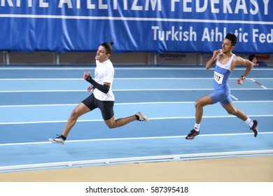 ISTANBUL, TURKEY - DECEMBER 24, 2016: Athletes running during Turkish Athletic Federation Indoor Athletics Record Attempt Races