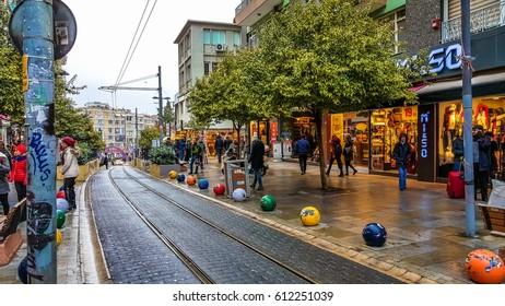 Istanbul, Turkey - December 24, 2016: General view of old Kadikoy streets