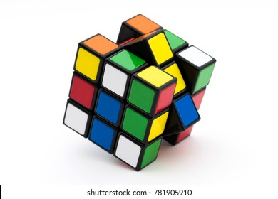 Istanbul, TURKEY. December 27, 2017. Huge 3x3 Rubik's cube on the gold background. Solving difficult tasks.