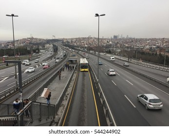ISTANBUL, TURKEY - DECEMBER 28, 2016: Eyup district in istanbu. Metrobus, a part of public transportation system, eases the traffic in Istanbul on DECEMBER 28, 2016 in Istanbul, Turkey