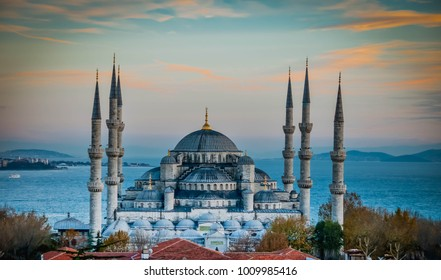 ISTANBUL / TURKEY - DECEMBER 28, 2017: An amazing aerial view to Sultan Ahmet Mosque, also known as The blue mosque with a view to Bosphorus