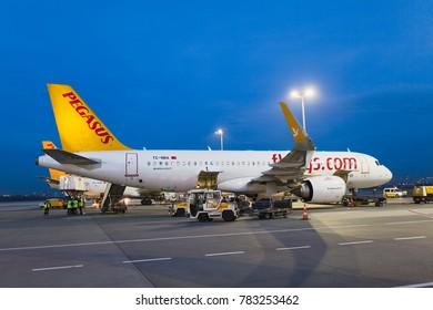 Istanbul, Turkey - December 28, 2017: Pegasus airlines plane is getting ready for flight in Sabiha Gokcen-Istanbul International Airport in Turkey.