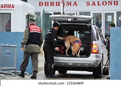 ISTANBUL, TURKEY - DECEMBER 28: Vehicles and cars that arrive in Silivri courthouse in Istanbul are searched by sniffer dogs and detectors on December 28, 2010 in Istanbul, Turkey.