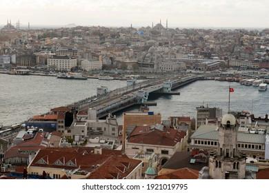 Istanbul, Turkey -  december 3, 2013 Beautiful panorama view of Galata bridge, the Bosphorus and the city at Istanbul