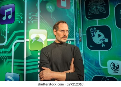 ISTANBUL, TURKEY - DECEMBER 3, 2016: Steve Jobs figure at  Madame Tussauds wax museum in Istanbul. Steve Jobs was  the co-founder, chairman, and chief executive officer of Apple Inc.