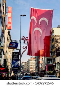 ISTANBUL, TURKEY - DECEMBER 31, 2018: Flag of Nationalist Movement Party, (MHP)  hang above the street in Istanbul.
